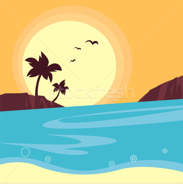 Stock photo: Summer & travel: silhouette of beach sunset - Retro
