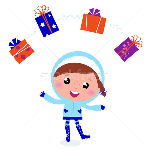 Cute winter child jugglery with christmas gifts isolated on whit Stock photo © lordalea