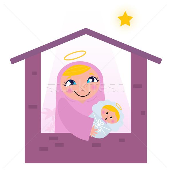 Nativity Bethlehem scene: Virgin Mary and Baby Jesus Stock photo © lordalea