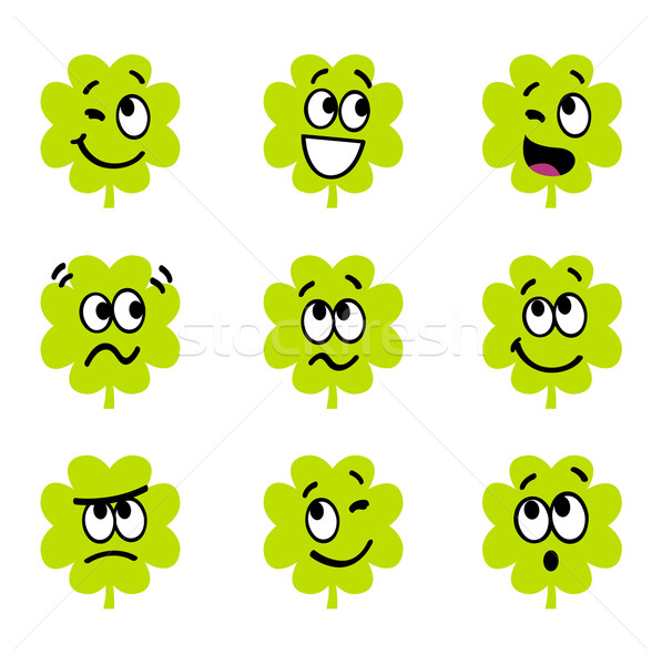 Cartoon four leaf clovers with facial expression isolate on whit Stock photo © lordalea