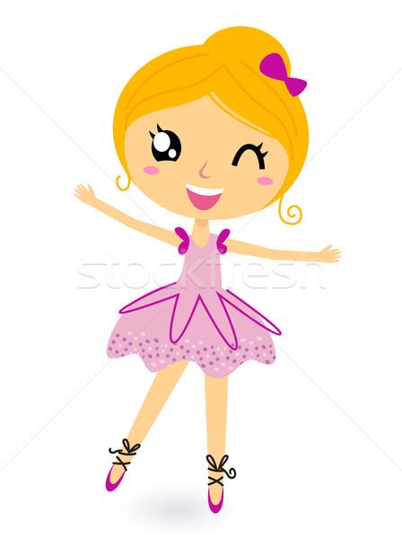 Cute little dancing ballerina girl vector illustration ...