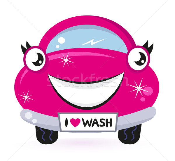 Cute pink car wash isolated on white Stock photo © lordalea