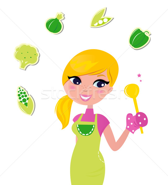 Cooking woman preparing healthy green food isolated on white - v Stock photo © lordalea