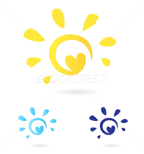 Abstract vector Sun icon with Heart -  yellow & blue, isolated o Stock photo © lordalea