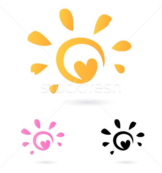 Photo stock: Résumé · vecteur · soleil · icône · coeur · orange