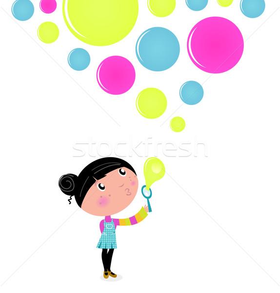 Cute petite fille bulles de savon isolé blanche Photo stock © lordalea
