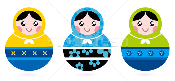 Russian doll serries isolated on white Stock photo © lordalea