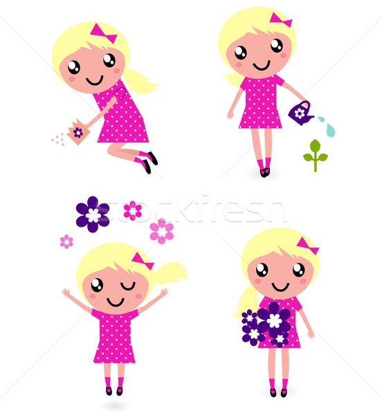 Cute little Child with spring Flowers  Stock photo © lordalea