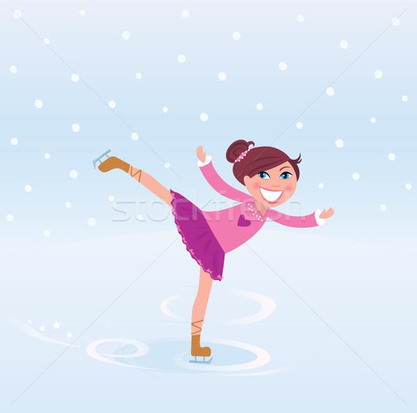 Jóvenes patinaje artístico nina pequeño formación hielo Foto stock © lordalea
