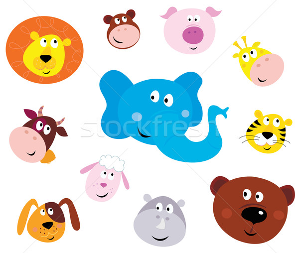 Cute Smiling Animal Head Icons ( Emoticons )  Stock photo © lordalea