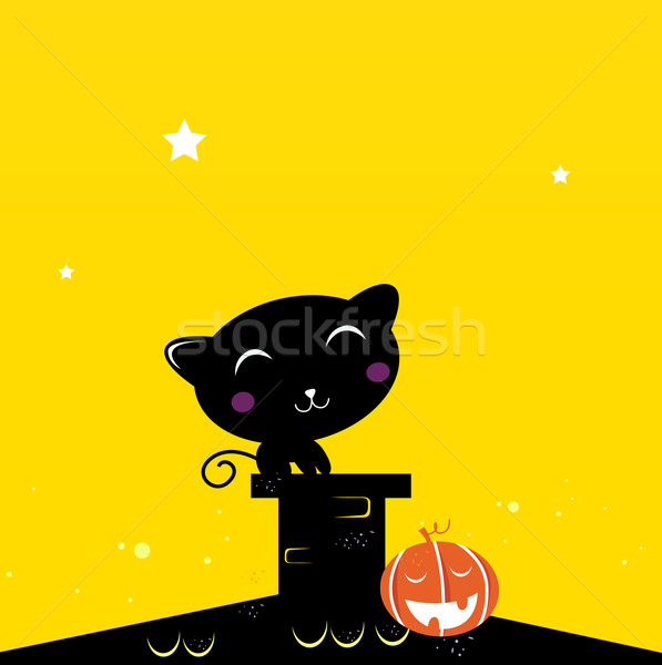 Stock photo: Black Halloween cat silhouette on the roof during dark night