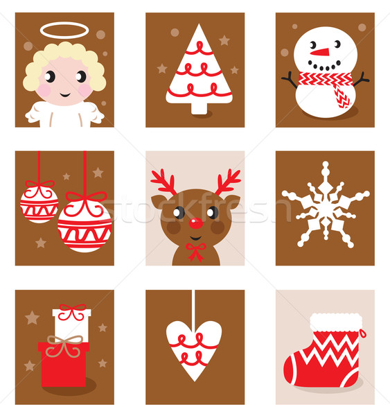 Christmas characters & accessories, icon & elements ( retro )