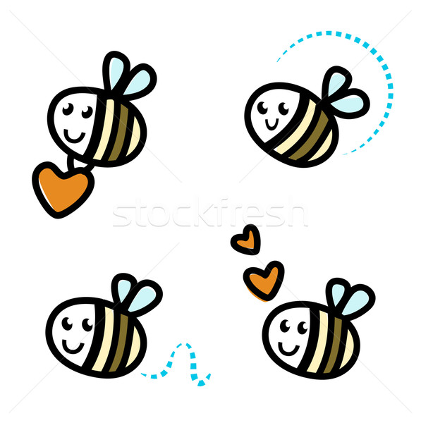 Stock photo: Cute bee characters with hearts isolated on white