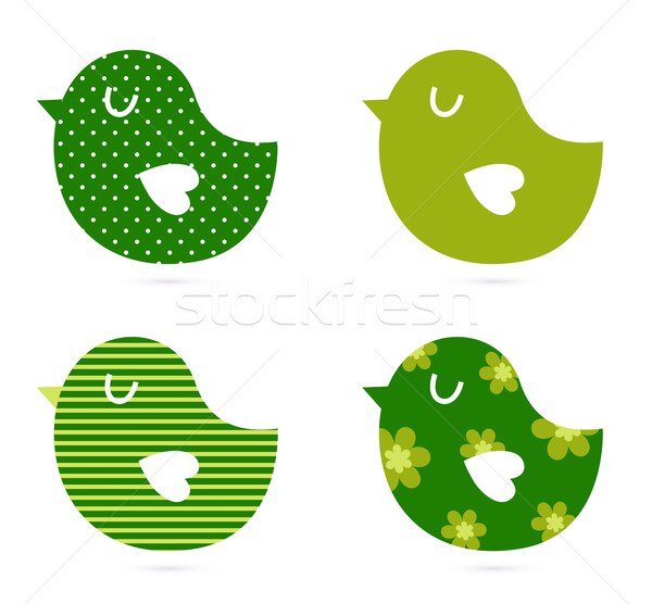 Cute abstract birds collection isolated on white Stock photo © lordalea
