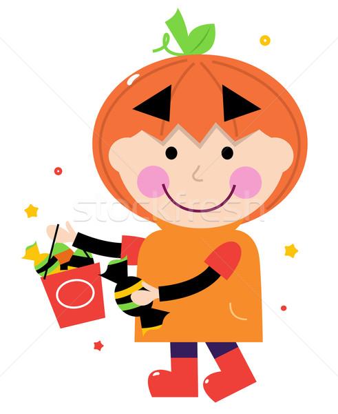 Foto stock: Abóbora · halloween · menino · isolado · branco · criança