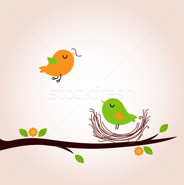 Cute spring birds building nest Stock photo © lordalea
