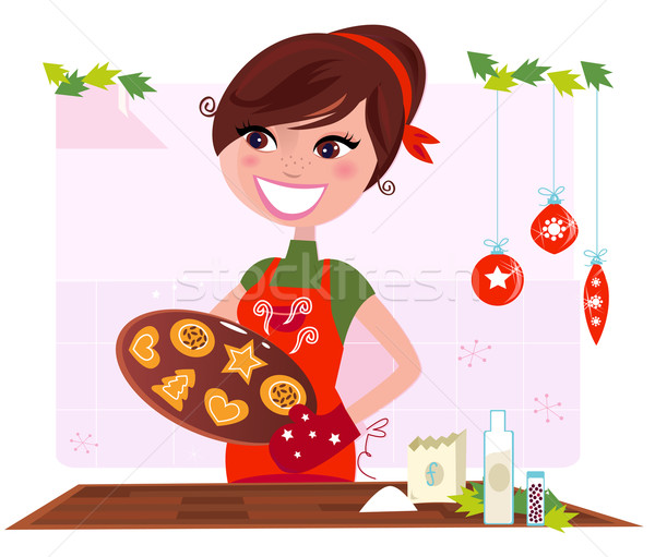 Secret recipe: Woman preparing christmas cookies Stock photo © lordalea