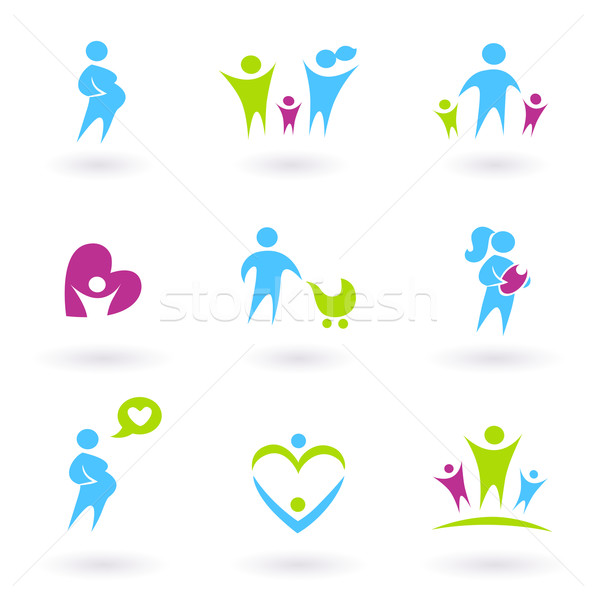 Stock photo: Pregnancy, Family and Parenthood icons isolated on white
