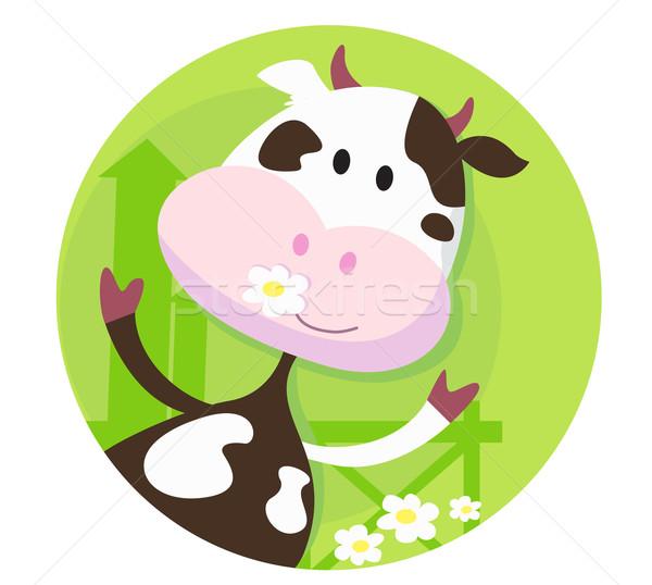 Mutlu inek karakter komik çayır Stok fotoğraf © lordalea