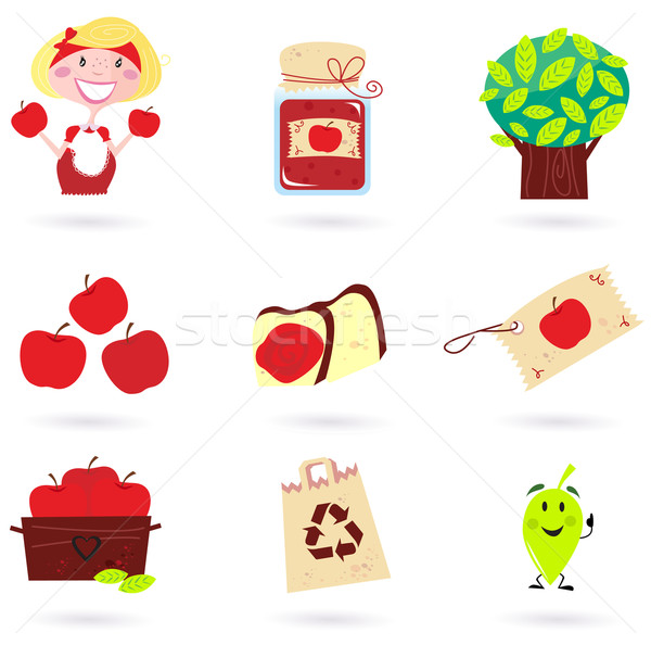 Nature and autumn: apple icons set ( green & red ) vector