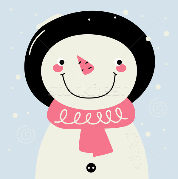 Cute retro Snowman with pink Scarf on snowing background Stock photo © lordalea
