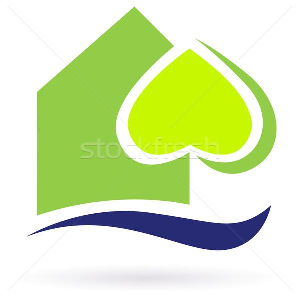 Zdjęcia stock: Zielone · charakter · eco · domu · ikona · budynku