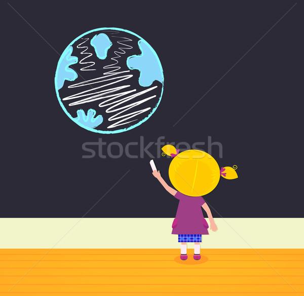 Stock fotó: Kislány · iskola · festmény · Föld · iskolatábla · aranyos