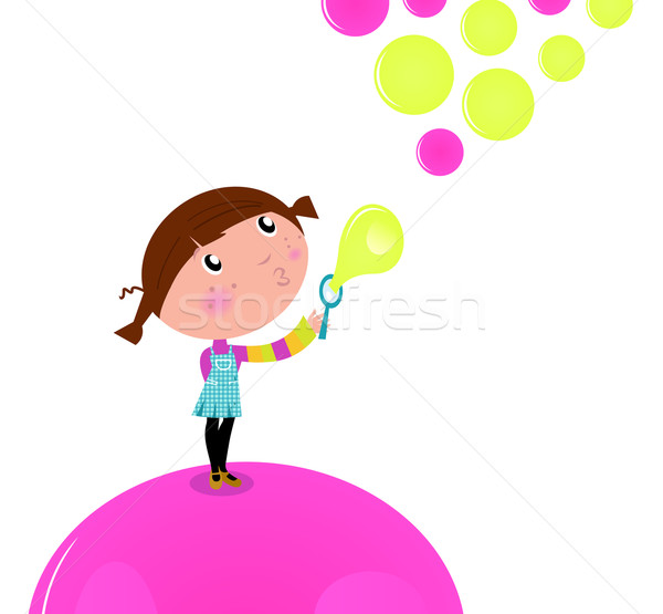 Cute little Kid blowing Soap bubbles isolated on white