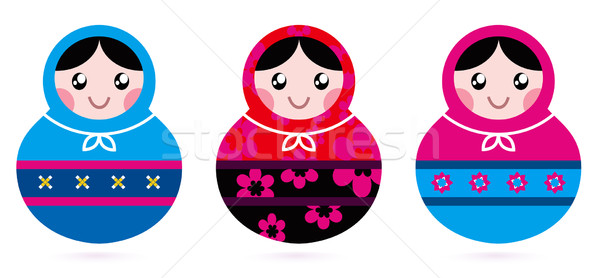 Russian doll collection isolated on white Stock photo © lordalea