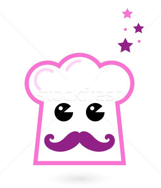 Szakács rózsaszín kalap kabala izolált fehér Stock fotó © lordalea