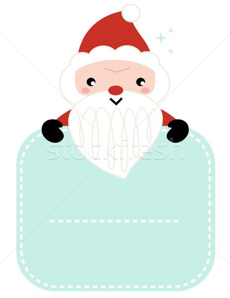 Cute cartoon Santa holding blank banner  Stock photo © lordalea
