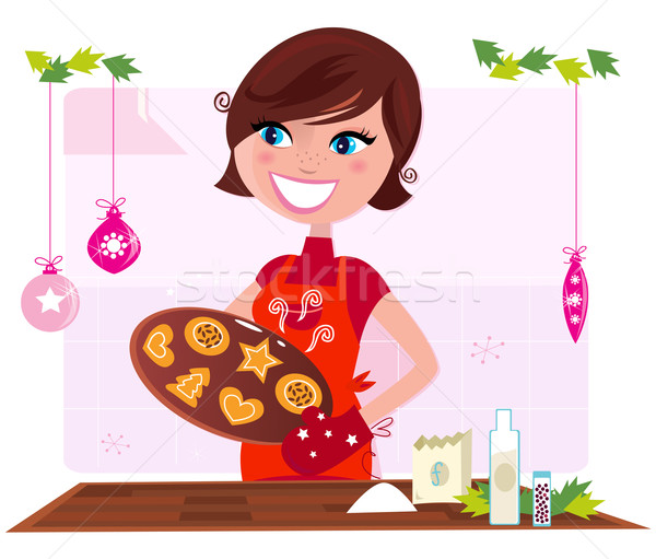Cooking mother preparing christmas cookies in kitchen Stock photo © lordalea
