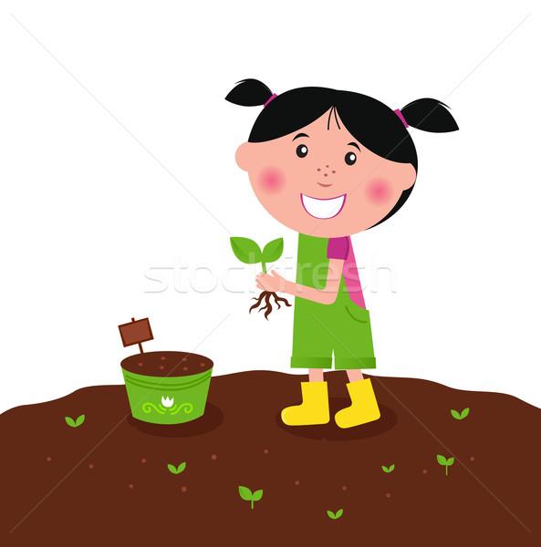 Stock fotó: Boldog · gyerek · ültet · kicsi · növények · farm
