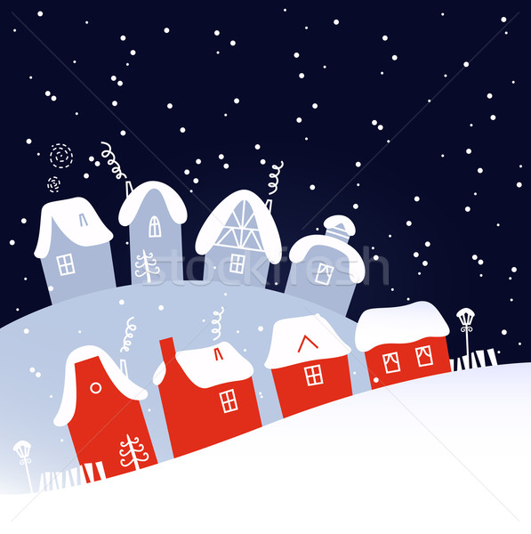 Winter Christmas snowing village Stock photo © lordalea