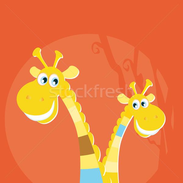Stock fotó: Szafari · állatok · nagy · kicsi · zsiráf · kettő · citromsárga