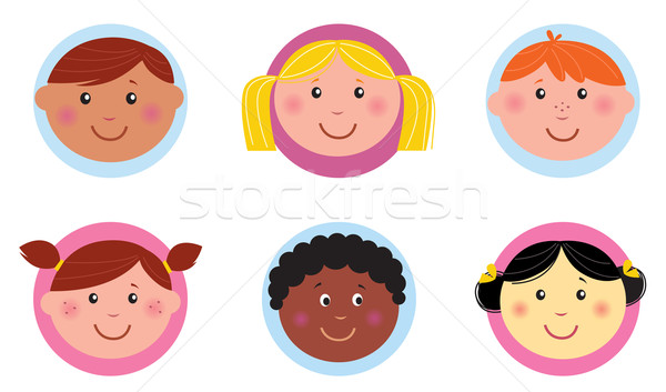 Cute diversity kids icons or buttons - pink and blue  Stock photo © lordalea