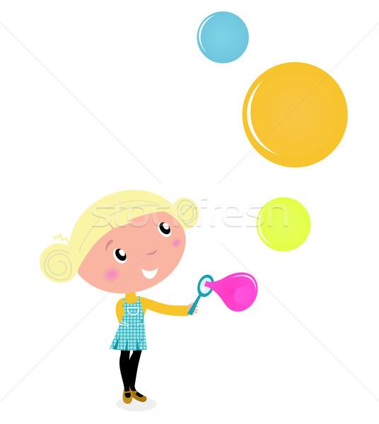Photo stock: Cute · blond · petite · fille · coloré · bulles · de · savon