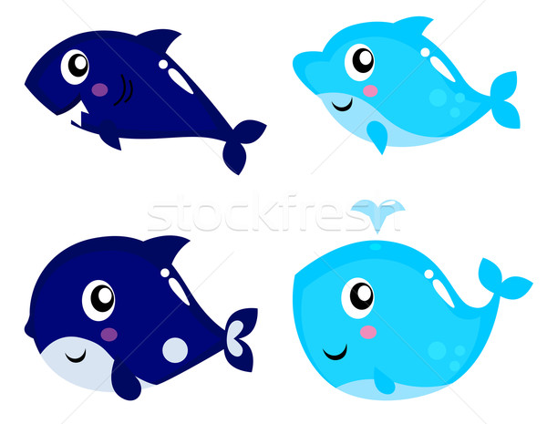 Sea life cartoon set isolated on white Stock photo © lordalea
