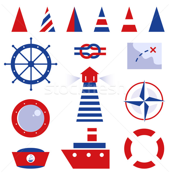 Sailor and sea icons isolated on white Stock photo © lordalea