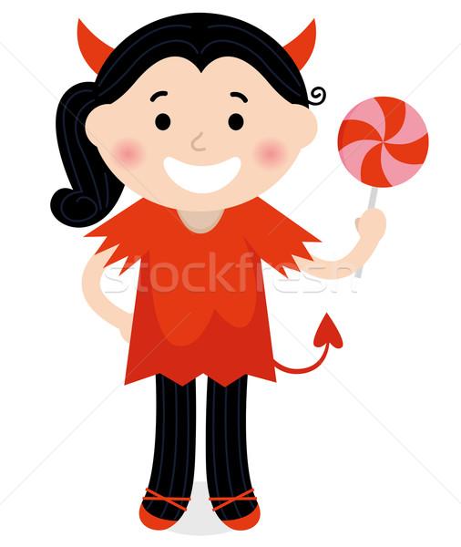 Сток-фото: Cute · мало · дьявол · девушки · красный · костюм