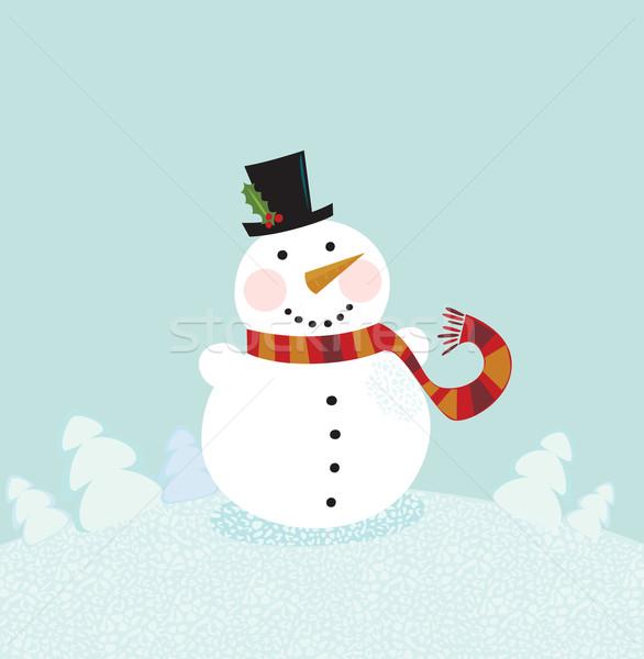 Сток-фото: Рождества · зима · снеговик · Cute · природы · вектора