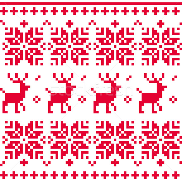 Nordic seamless knitted christmas pattern vector ( red ) Stock photo © lordalea