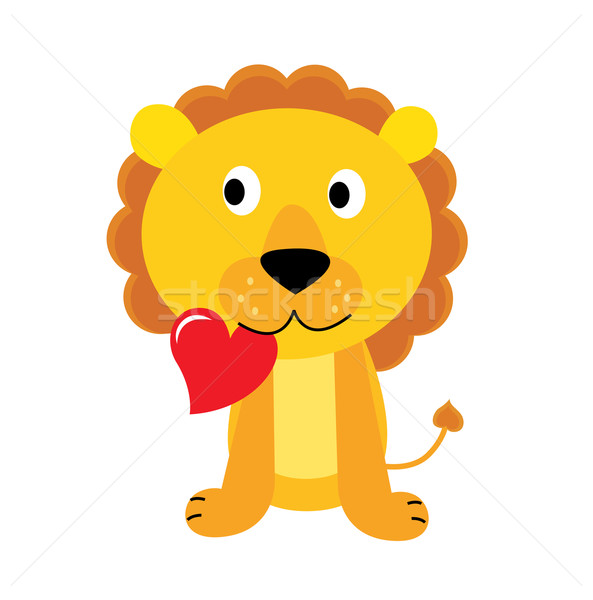 Cute little lion with red heart isolated on white  Stock photo © lordalea