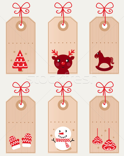 Stock photo: Cute christmas retro tags collection isolated on white ( red )
