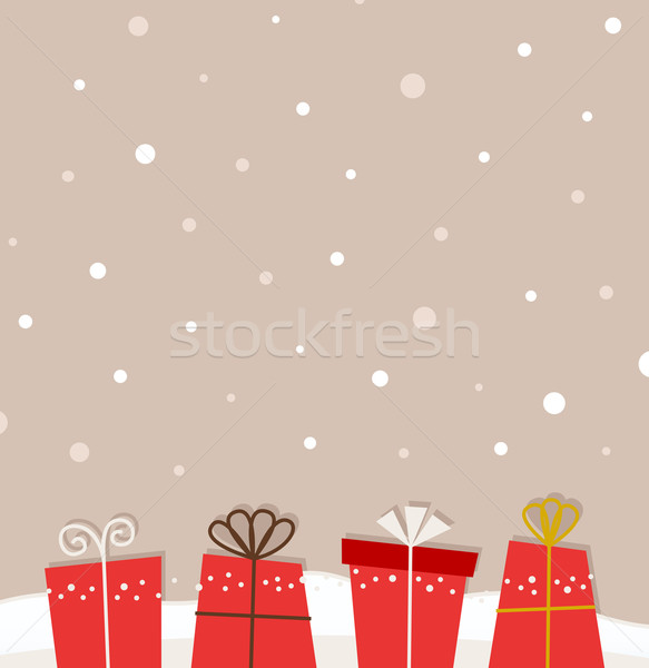Retro christmas snowing background with gifts Stock photo © lordalea