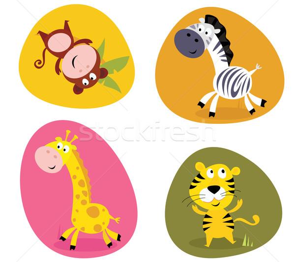 Illustratie ingesteld cute safari dieren aap tijger Stockfoto © lordalea