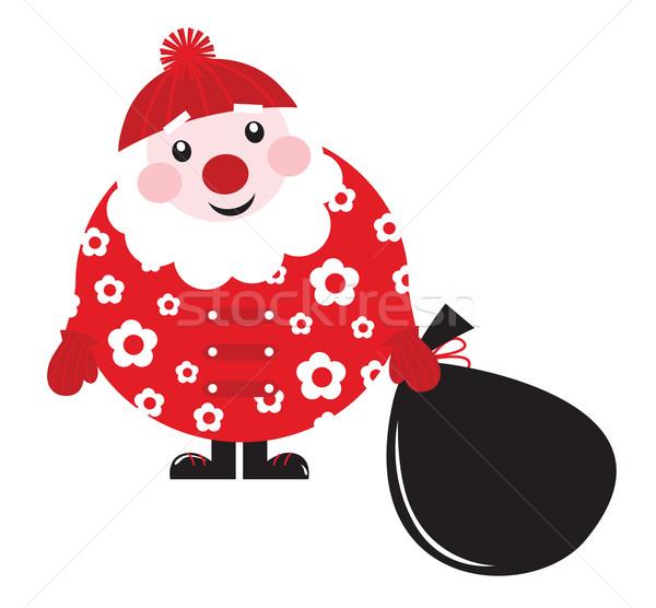 Stock photo: Cute cartoon retro floral Santa with big bag - vector