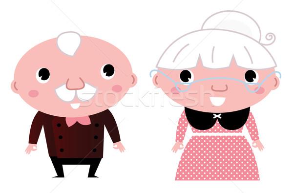 Retro nagyszülők izolált fehér nagymama nagyapa Stock fotó © lordalea