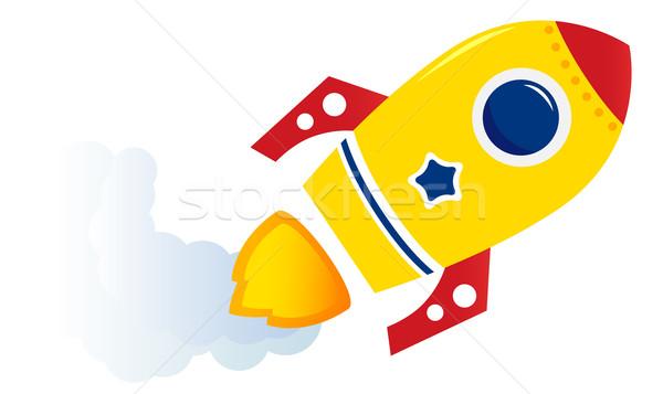 飛行 漫画 黄色 ロケット 孤立した 白 ストックフォト © lordalea