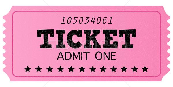 Pink cinema retro admit one ticket isolated on white Stock photo © lordalea